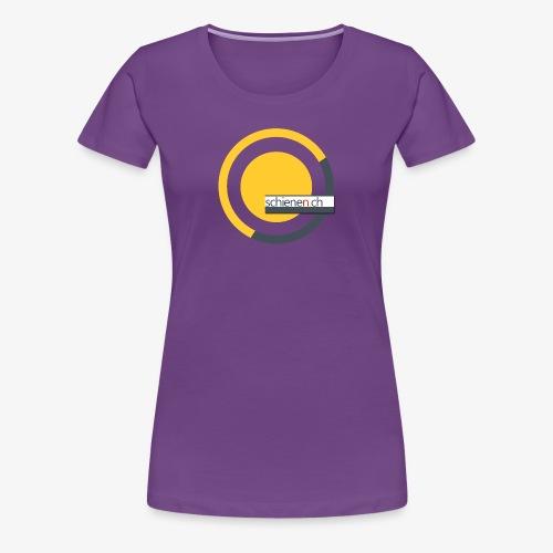 Logo «schienen.ch», gelb-grau - Frauen Premium T-Shirt