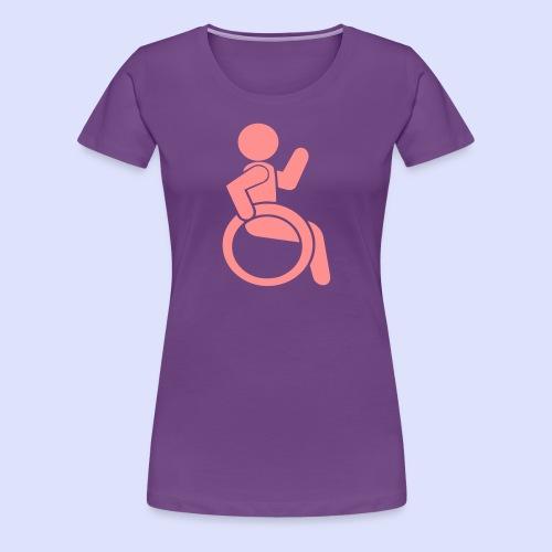 Zwaaiende rolstoel gebruiker 001 - Vrouwen Premium T-shirt