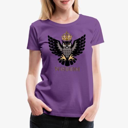 Royal Wisdom — La Chouette à Couronne - T-shirt Premium Femme