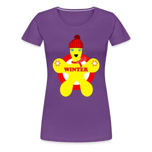 Hiver neige Noël bonhomme jaune - T-shirt Premium Femme