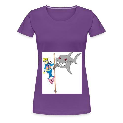 Taucher mit weißen Hai - Frauen Premium T-Shirt