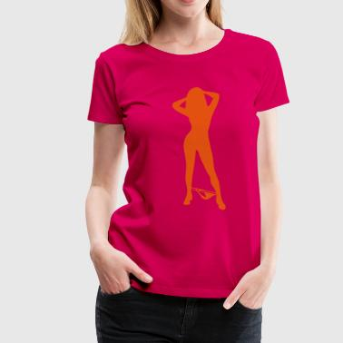 Sexy, devil, porno, lacquer, leather, whip, satan, angels, holy, holy light, love, sex, marriage, pair, friend, friend, dirtily, legs, Po, back, breasts, wing, silhouette, shade, outlined, sado, maso, Domina  - Premium-T-shirt dam