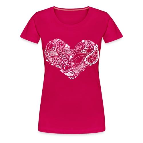 White Leaf Heart Mandala - Women's Premium T-Shirt