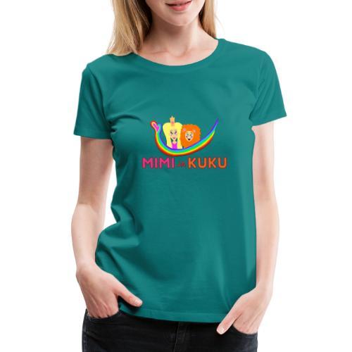 Mimi ja Kuku- sateenkaarilogolla - Naisten premium t-paita