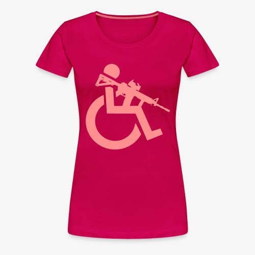 Gewapende rolstoel gebruiker met geweer, wapen - Vrouwen Premium T-shirt
