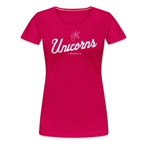 Unicorns I believe in white - Vrouwen Premium T-shirt