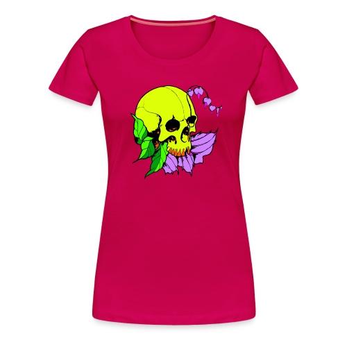 Skalle och blomma - Premium-T-shirt dam