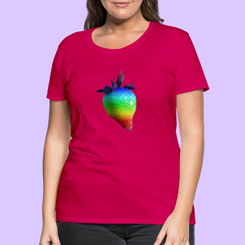 bunte Erdbeere in den Farben des Regenbogens - Frauen Premium T-Shirt