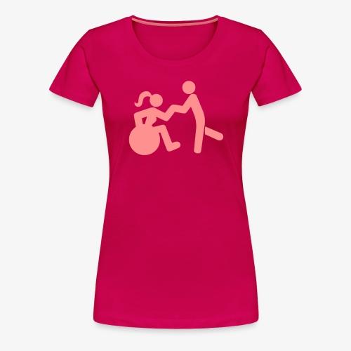 Afbeelding van vrouw in rolstoel die danst met man - Vrouwen Premium T-shirt