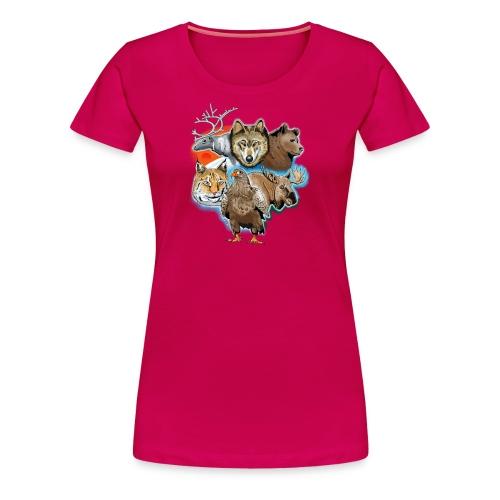 10 01 Wild life - Susi, poro, karhu, ilves, kotka - Naisten premium t-paita