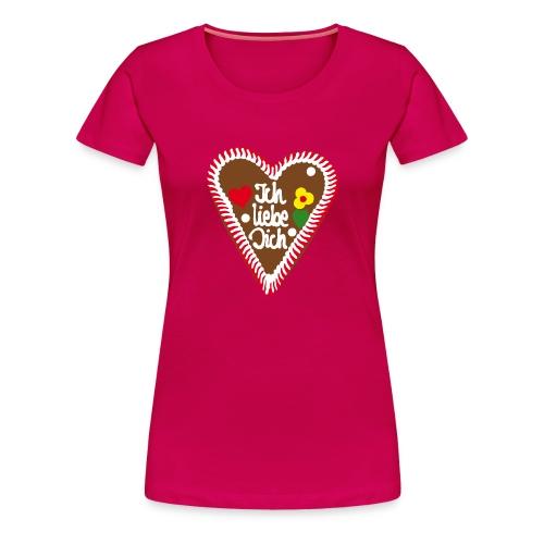 Lebkuchenherz Ich liebe Dich - Frauen Premium T-Shirt