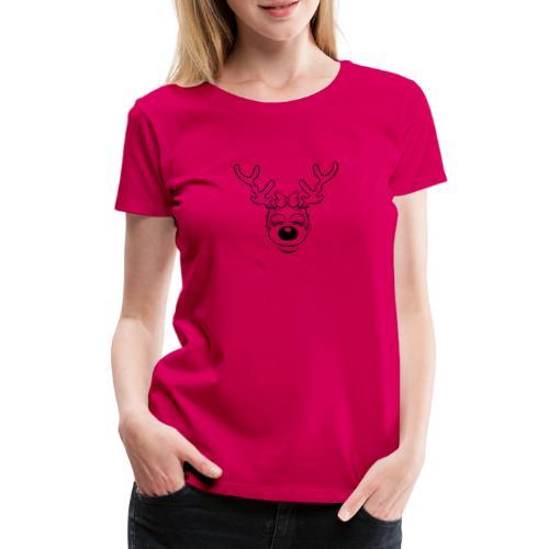 Fröhliche weibliches Rentier ohne Ohren - Frauen Premium T-Shirt