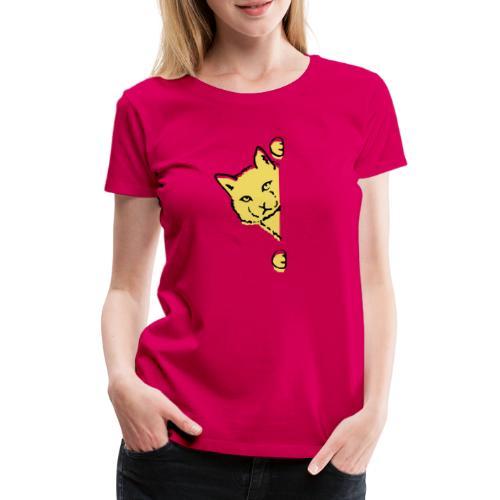 En gul katt - Premium-T-shirt dam
