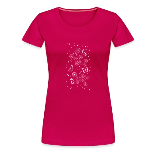 Floral and Butterflys_5_Shirt_Weiss - Frauen Premium T-Shirt