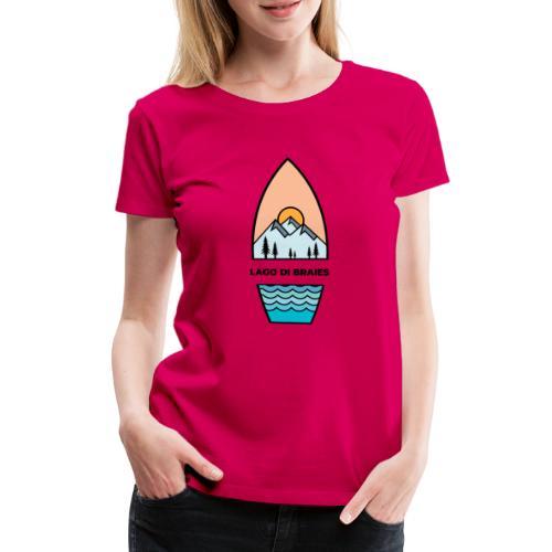 Illustrazione Lago di Braies - Maglietta Premium da donna