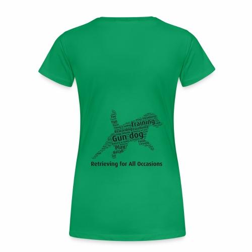 Retrieving for All Occasions wordcloud svart - Premium-T-shirt dam