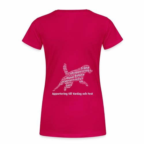 Apportering till vardag och fest wordcloud vitt - Premium-T-shirt dam