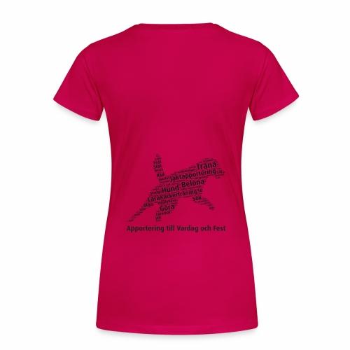 Apportering till vardag och fest wordcloud svart - Premium-T-shirt dam