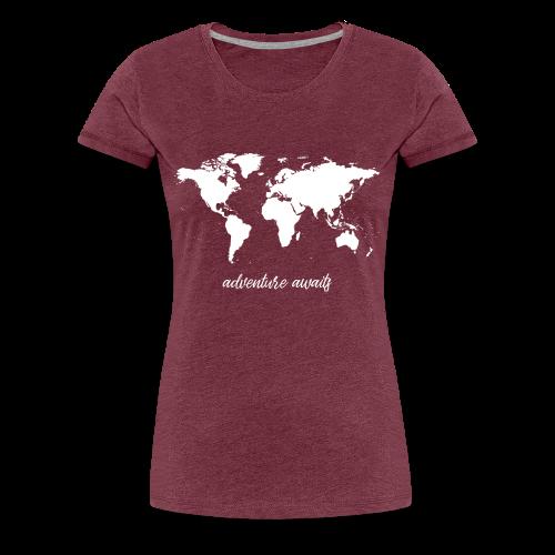 adventure awaits - Weltkarte - Frauen Premium T-Shirt