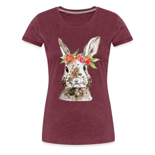 Aquarell Hase Design Blumen - Frauen Premium T-Shirt