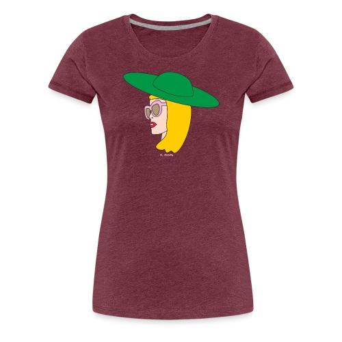 Frauenkopf mit Hut - Frauen Premium T-Shirt