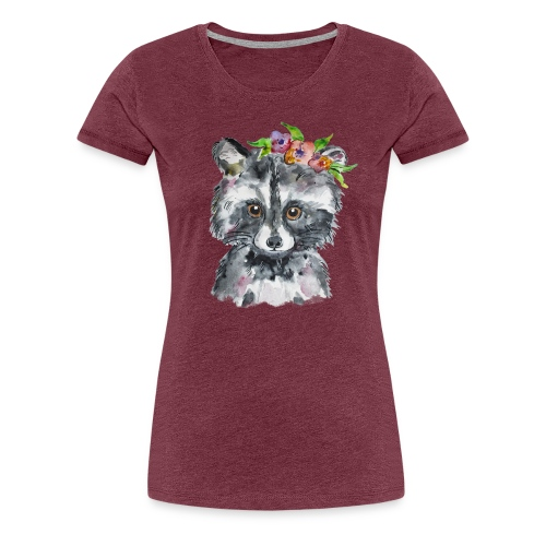 Waschbär Aquarell Design Blumenkranz - Frauen Premium T-Shirt