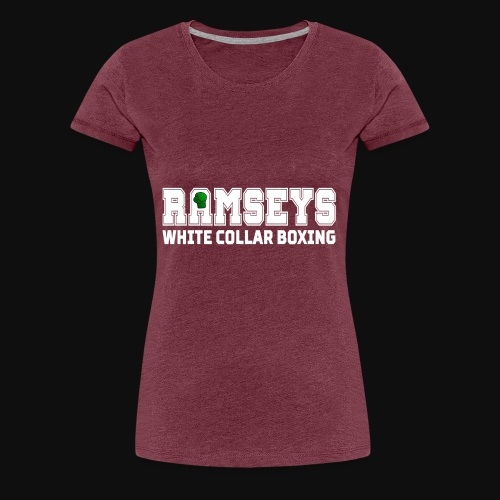 Ramseys White Collar Boxing White Logo - Women's Premium T-Shirt