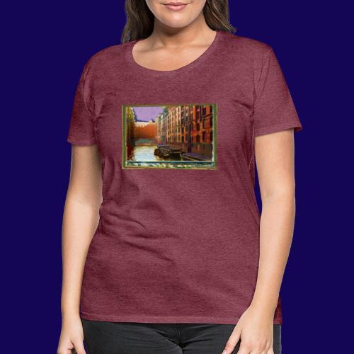 Hamburg: Speicherstadt als Künstler-Grafik - Frauen Premium T-Shirt