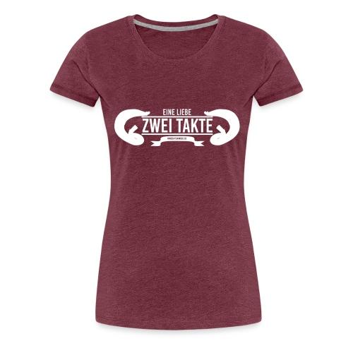 Eine Liebe Zwei Takte Hoodie weißes kleines Log - Frauen Premium T-Shirt