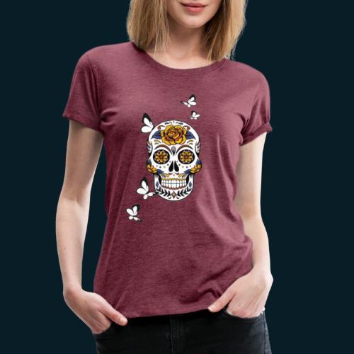 Totenkopf mit Schmetterlingen - Frauen Premium T-Shirt