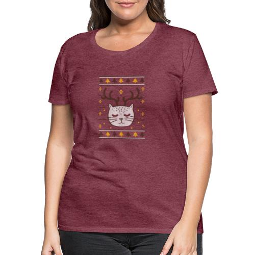 Cat ugly sweater christmas - Frauen Premium T-Shirt