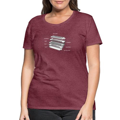 Exploded harmonica - white text - Women's Premium T-Shirt