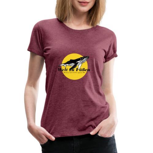 Welt zu Füßen Logo - Frauen Premium T-Shirt