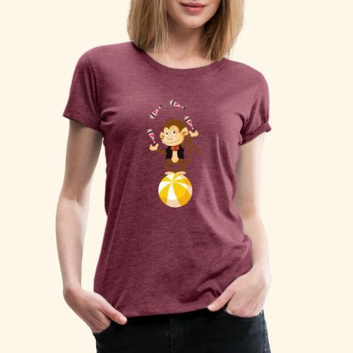 Lustiger Affe auf einem rollenden Ball - Frauen Premium T-Shirt