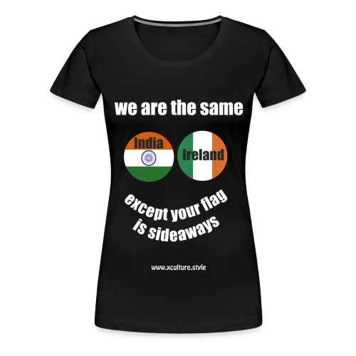 india ireland circles white text png - Women's Premium T-Shirt