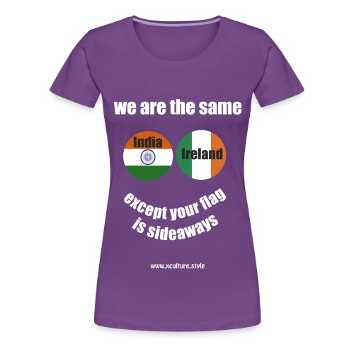 india ireland circles white text png - Women's Premium T-Shirt