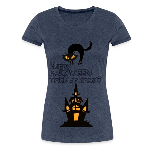 CAT LOVE CHAT AMOUR HALOWEEN - T-shirt Premium Femme