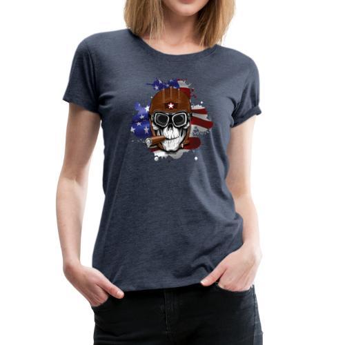 AMERICAN PILOT - SKULL - USA - LAHJATUOTTEET - Naisten premium t-paita