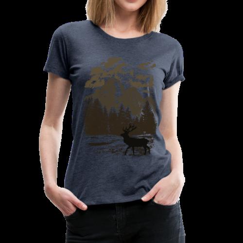 Bergwald und Rothirsch (Braun) - Frauen Premium T-Shirt