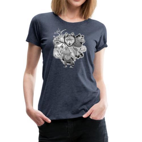 10-02 Susi, poro, karhu, ilves, kotka, hirvi-lahja - Naisten premium t-paita