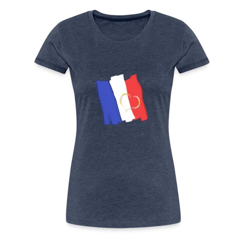 Frankreich Fahne mit Herz Nation Sport Fanshirt - Frauen Premium T-Shirt