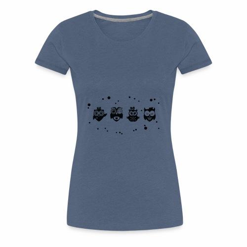 Kleine lustige Eulen - Schwarz / Weiß - Frauen Premium T-Shirt