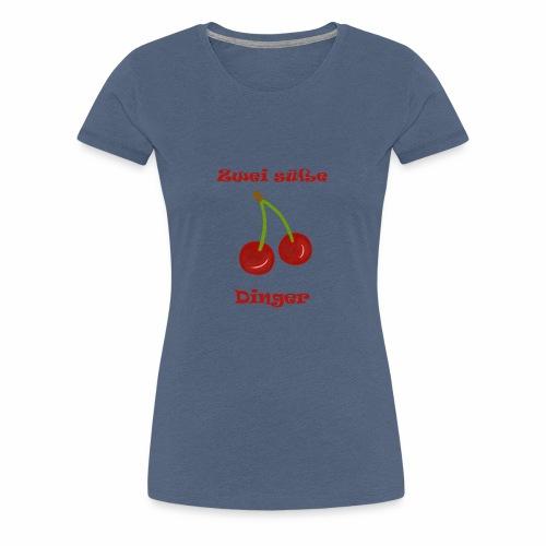 Zwei süße Dinger Kirschen Fun Geschenkidee Frauen - Frauen Premium T-Shirt