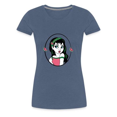 Water meloen retro meisje - Vrouwen Premium T-shirt
