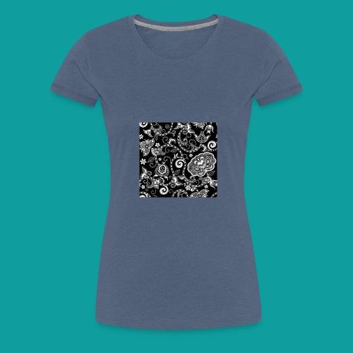 design floral vintage noir et blanc - T-shirt Premium Femme