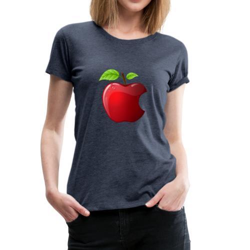 Symbol roter Apfel mit 2 Blätter glänzend - Frauen Premium T-Shirt