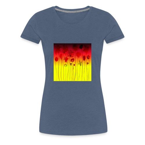 scharz-rot-gold-blume - Frauen Premium T-Shirt