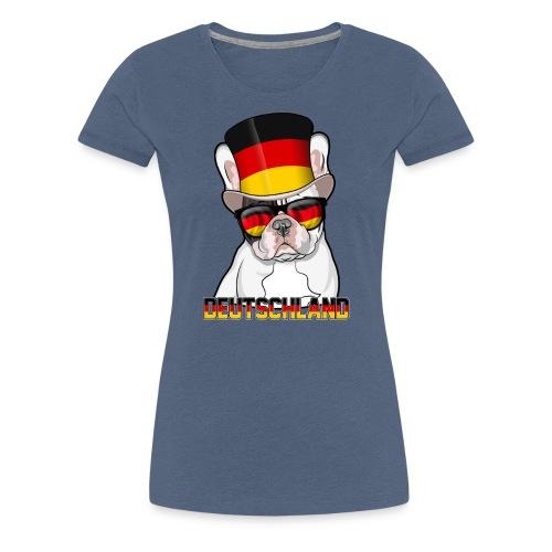 Coole Französische Bulldogge mit Hut und Brille - Frauen Premium T-Shirt