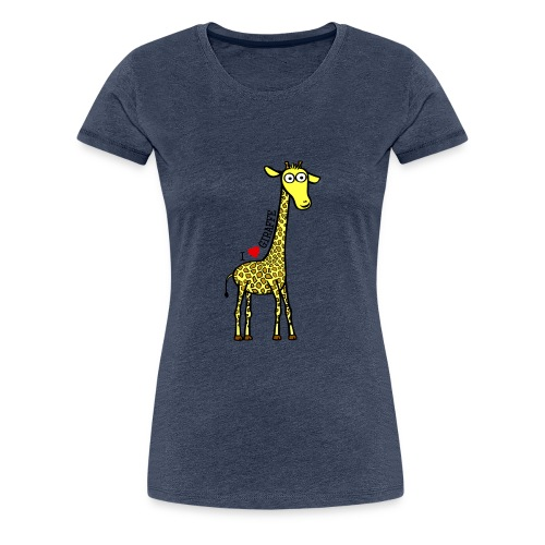 Kocham Żyrafę - Czarny napis - Koszulka damska Premium