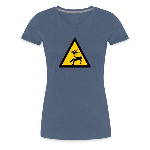 Señal advertencia peligro warning drones - Camiseta premium mujer